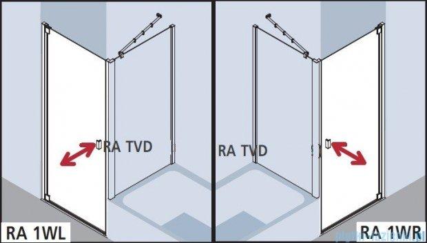 Kermi Raya Drzwi wahadłowe, 1-skrzydłowe, prawe, szkło przezroczyste z KermiClean, profile srebrne 100x200 RA1WR10020VPK