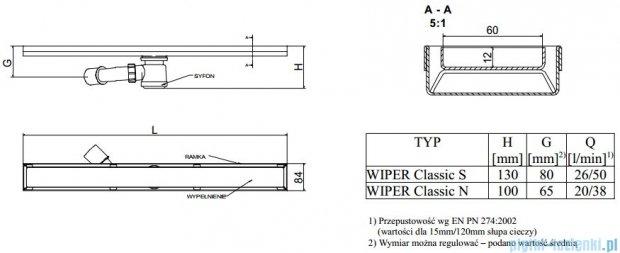Wiper Odpływ liniowy Classic Zonda 120cm bez kołnierza poler Z1200PCS100