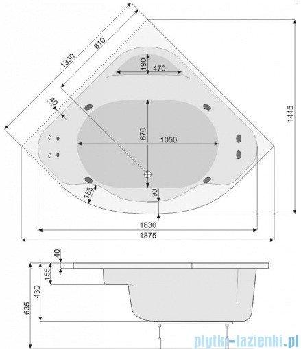 Poolspa Wanna symetryczna KLIO SYM 133x133 + hydromasaż system SD1 PHS3510SD1C0000