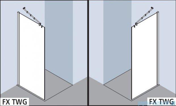 Kermi Filia Xp Ściana Walk-in Wall, stabilizator 45 stopni, szkło przezroczyste, profile srebrne 120x200cm FXTWG12020VAK