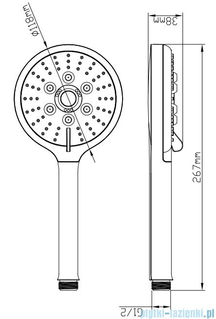 Omnires słuchawka prysznicowa 3-funkcyjna chrom RIBBON-R