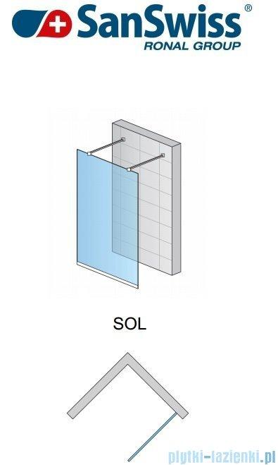 SanSwiss Pur Sol Ścianka stała 100-130cm profil chrom szkło Pas satynowy SOLSM11051