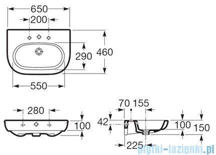 Roca Meridian-N Umywalka 65x46cm z powłoka Maxi Clean A32724100M