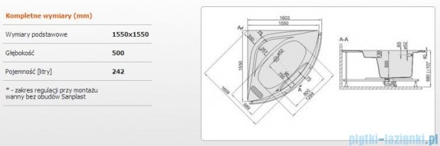 Sanplast Altus Wanna symetryczna+stelaż+reling WS-lx-ALT/EX 155x155+SP, 610-120-1050-01-000