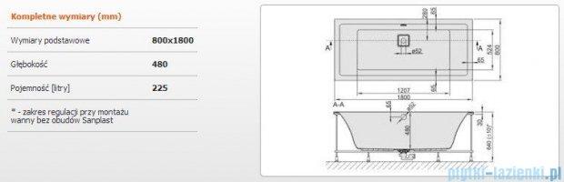 Sanplast Space Line Wanna prostokątna+stelaż WP/SPACE 180x80+SP, 610-100-0260-01-000