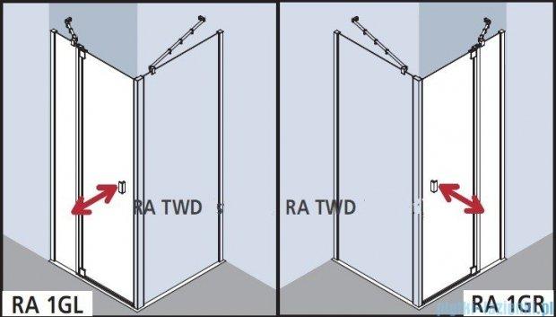 Kermi Raya Drzwi wahadłowe, 1-skrzydłowe, z polem stałym, prawe, szkło przezroczyste, profile srebrne 100x200 RA1GR10020VAK