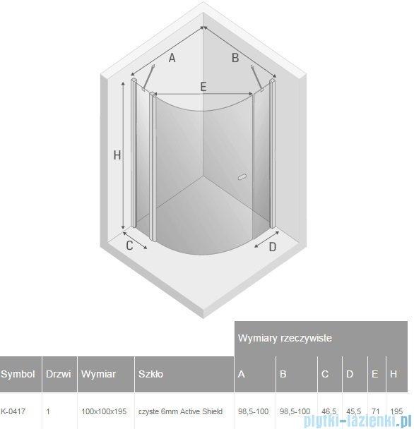 New Trendy New Soleo kabina półokrągła R55 100x100x195 cm przejrzyste K-0417