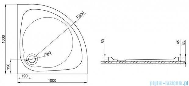 Polimat Nowy Styl brodzik akrylowy półokrągły posadzkowy 100x100cm 00600