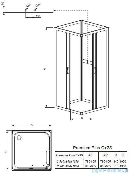 Radaway Premium Plus 2S Komplet ścianek tylnych 90x90 szkło grafit 33433-01-05N