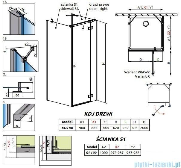Radaway Essenza New Kdj+S kabina 100x90x100cm prawa szkło przejrzyste 385020-01-01R/384052-01-01/384052-01-01