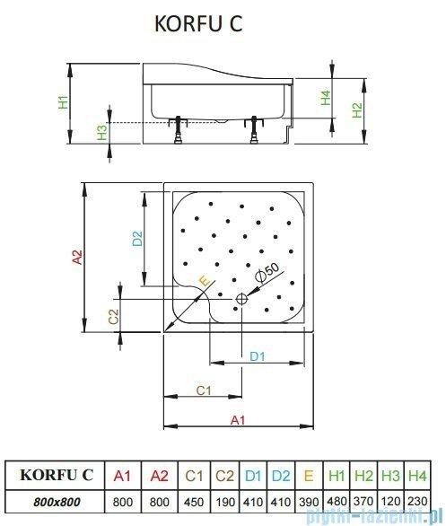 Radaway Brodzik kwadratowy Korfu C 80x80 4C88400-03