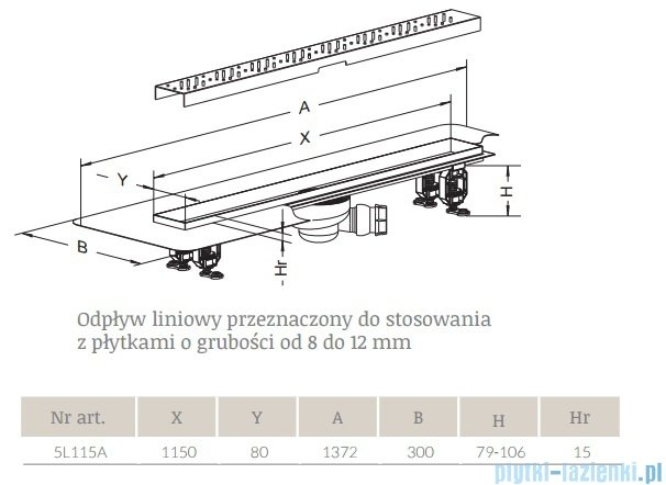 Radaway Rain Odpływ liniowy 115x8cm 5L115A,5R115R
