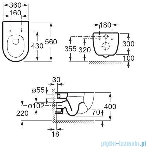 Miska wc podwieszana Roca Meridian-N A346247000 + DESKA WOLNOOP. A8012A2004