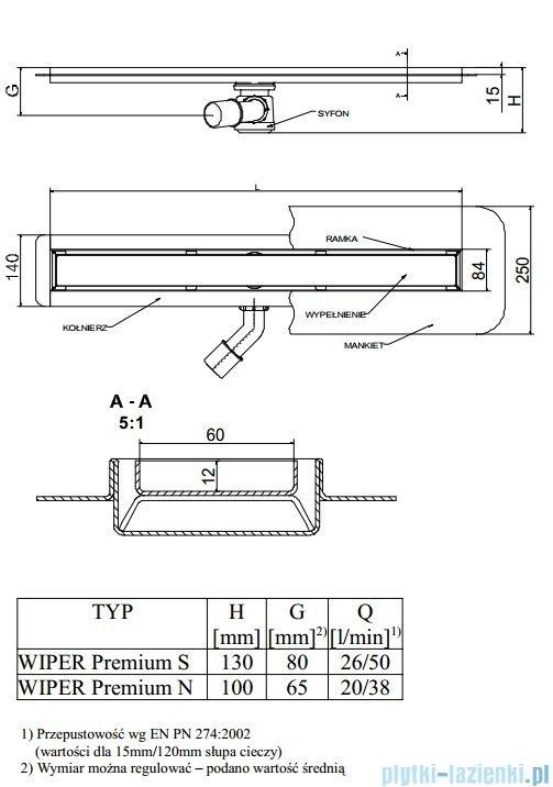 Wiper Odpływ liniowy Premium Tivano 70cm z kołnierzem poler T700PPS100