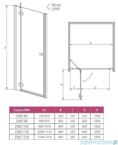 Radaway Drzwi wnękowe Fuenta DWJ 110 lewe szkło przejrzyste 381015-01NL