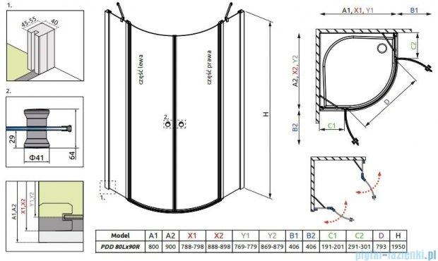 Radaway Eos II PDD kabina prysznicowa 80x90 szkło przejrzyste 3799470-01L/ 3799471-01R