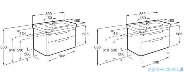 Roca Dama-n Unik 85 zestaw łazienkowy z 2 szufladami Taupe mat A851048373