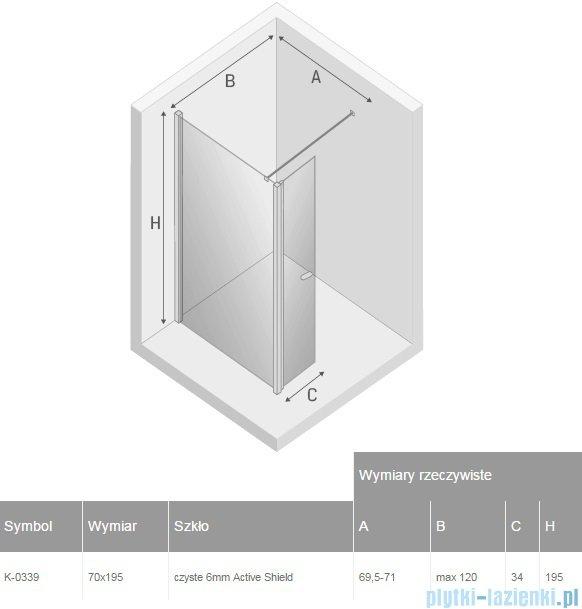 New Trendy New Soleo kabina Walk in 70x195 cm przejrzyste K-0339