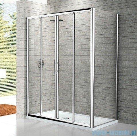 Novellini Drzwi prysznicowe przesuwne LUNES 2A 128 cm szkło przejrzyste profil srebrny LUNES2A128-1B