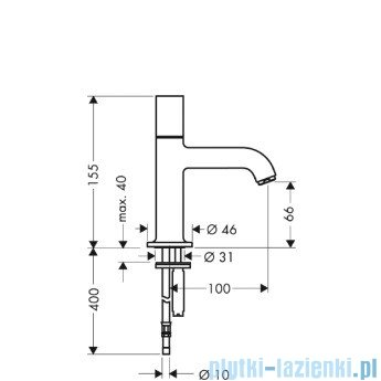 Hansgrohe Axor Uno² Bateria umywalkowa bez mieszacza z perlatorem D15 38130000