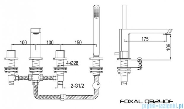 Kohlman Foxal 4-otworowa bateria wannowa QB240F