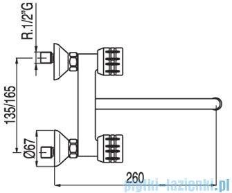 Tres Ese-23 Bateria zlewozmywakowa ścienna kolor chrom 1.23.310