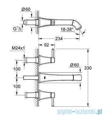 Grohe Grandera 3-otworowa bateria umywalkowa DN15 chrom 20415000
