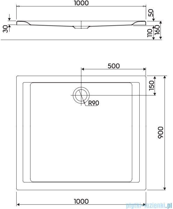 Koło Pacyfik Brodzik 100x90cm prostokątny XBP0719000