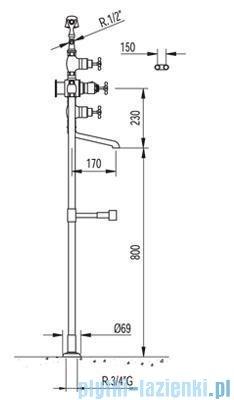 Tres Retro-Tres Bateria wannowa z termostatem i podłogowymi przyłączami wody kolor stary mosiądz 5.90.194.01