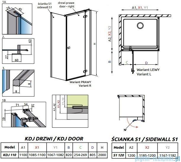 Radaway Essenza New Kdj kabina 110x120cm prawa szkło przejrzyste 385041-01-01R/384054-01-01