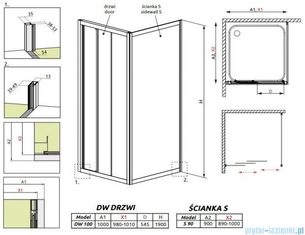 Radaway Treviso DW+S kabina 100x90 szkło fabric 32323-01-06N/32403-01-06N