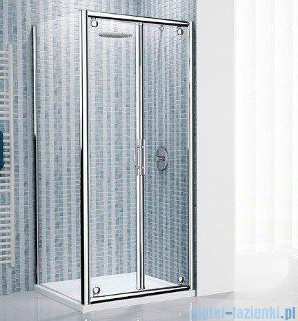 Novellini Drzwi prysznicowe składane LUNES B 114 cm szkło przejrzyste profil srebrny LUNESB114-1B