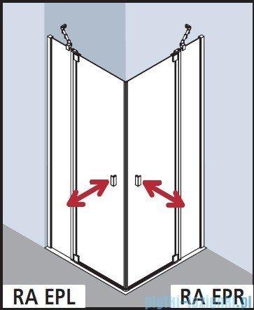 Kermi Raya Wejście narożne, 1 połowa, prawa, szkło przezroczyste, profile srebrne 90x200 RAEPR09020VAK