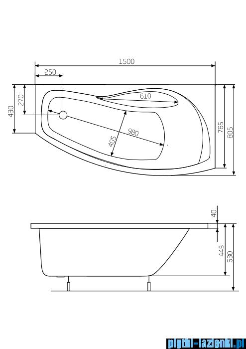 Roca Nicole wanna 150x80cm prawa z hydromasażem Smart WaterAir Plus A24T133000