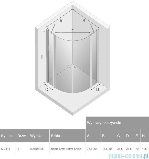 New Trendy New Soleo kabina półokrągła R55 80x80x195 cm przejrzyste K-0418