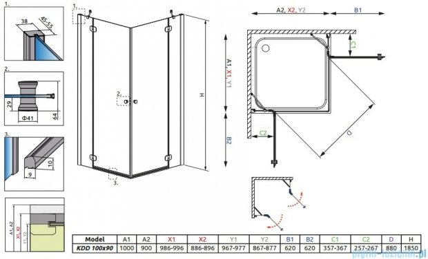 Radaway Torrenta Kdd Kabina prysznicowa 100x90 szkło carre + brodzik Doros D + syfon 32275-01-10N