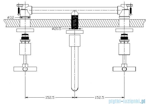 Omnires Modern bateria umywalkowa/wannowa ścienna 3-otworowa chrom B06-B