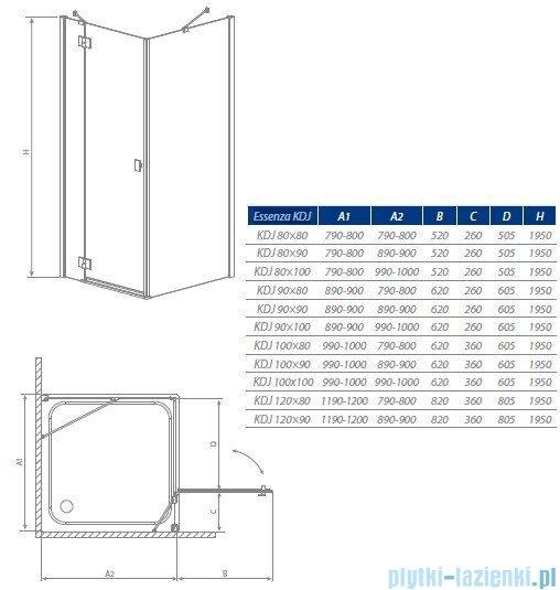 Radaway Kabina prysznicowa Essenza KDJ 80x90 prawa szkło przejrzyste + brodzik Doros D + syfon 32846-01-01NR