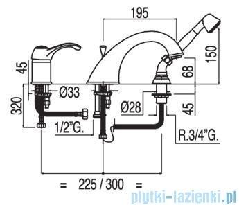 Tres Monoclasic 1900 Bateria wannowa 3-otworowa kolor stary mosiądz 5.42.145.02.01