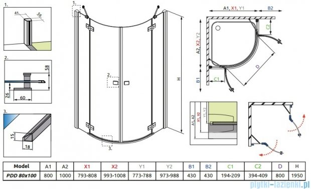 Radaway Almatea PDD E Kabina półokrągła 100x80 szkło grafitowe 30542-01-05N