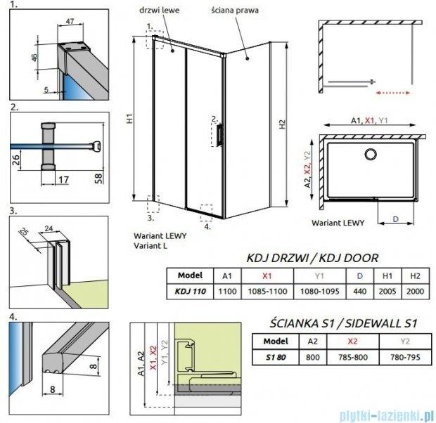 Radaway Idea Kdj kabina 110x80cm lewa szkło przejrzyste 387041-01-01L/387051-01-01R
