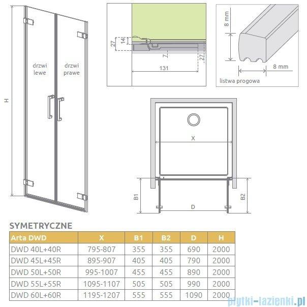 Radaway Arta Dwd drzwi wnękowe 60cm część lewa szkło przejrzyste 386034-03-01L
