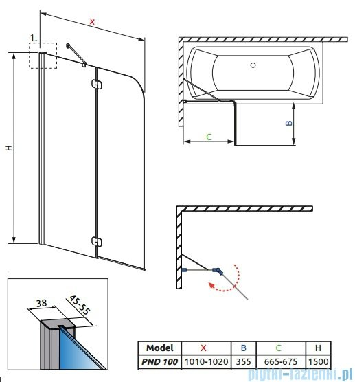 Radaway Torrenta PND Parawan nawannowy dwuczęściowy 100cm lewy szkło przejrzyste 201202-101NL