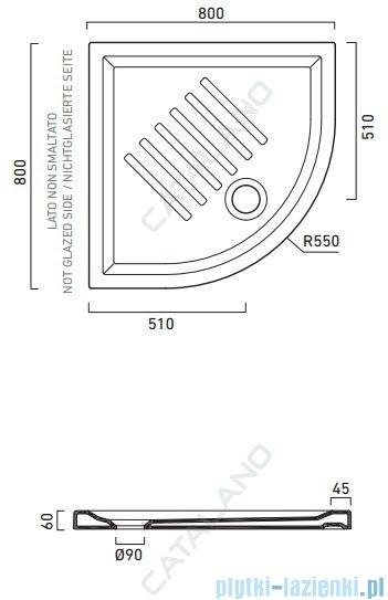 Catalano Verso 80x80 brodzik ceramiczny półokrągły 80x80x6 cm biały 18080AH600
