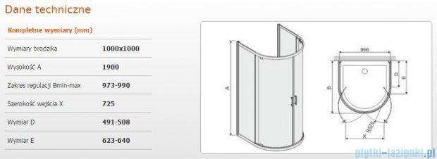 Sanplast Kabina przyścienna półokragła KPP2DJ/TX5b-100 100x100x190 cm szkło Grey 600-271-0450-38-501
