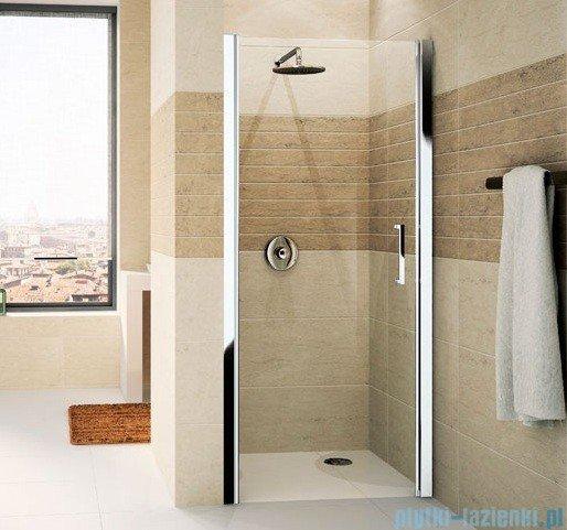Novellini Drzwi do wnęki uchylne GIADA 1B 84 cm lewe szkło przejrzyste profil srebrny GIADN1B84S-1B