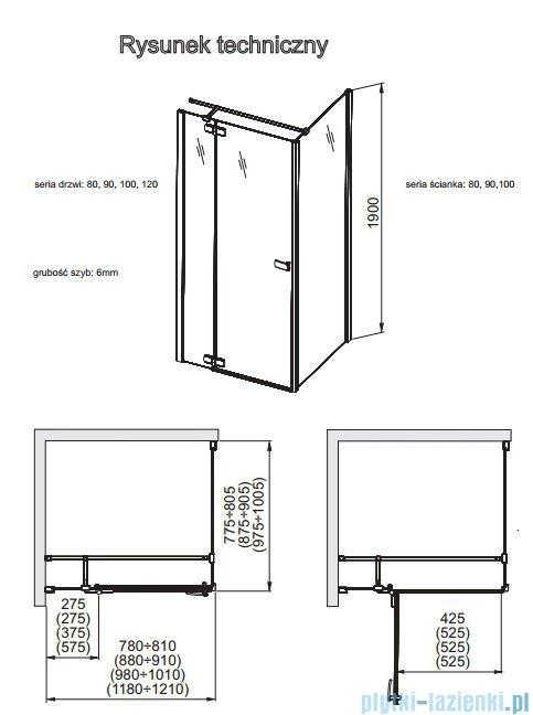 Aquaform Verra Line drzwi uchylne lewe 100cm przejrzyste 103-09382