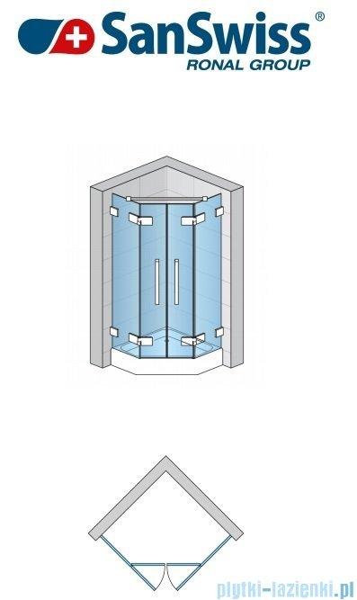 SanSwiss Pur PUT52P Ścianka boczna do kabiny 5-kątnej 30-100cm profil chrom szkło Pas satynowy PUT52PSM11051