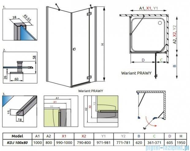 Kabina Radaway Almatea Kdj prostokątna 100x80 Prawa szkło przejrzyste 32142-01-01NR