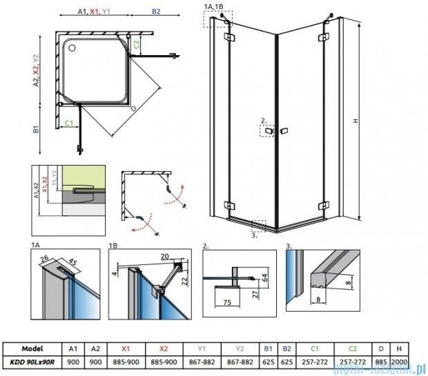 Radaway Fuenta New Kdd kabina 90x90cm szkło przejrzyste 384060-01-01L/384060-01-01R
